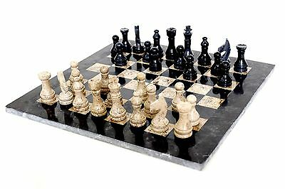 RADICALn 16 Inches Handmade Black and Fossil Coral Full Marble Chess game