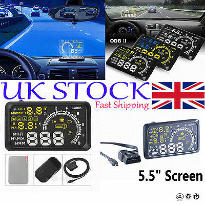"W02 5.5"" Screen Car OBDII LED HUD Head Up Display MPH Speed Warning GPS System #"