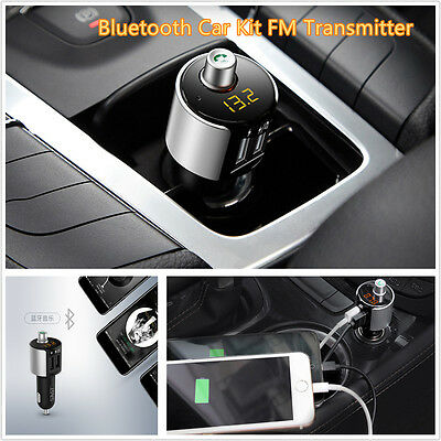 Bluetooth Car FM Transmitter MP3 Wireless Radio Player Charger Kit With Dual USB
