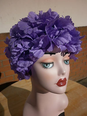 Stunning Vintage Bright Puprle Flower Hat With Chiffon Bow Detail - 1960 1970