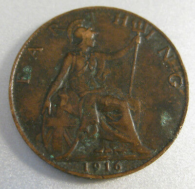 British 1916 Farthing Coin - Circulated.