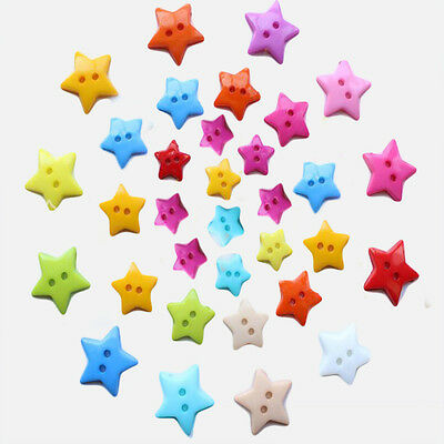 100 Pcs Mixed Color 2-hole Star Shape Plastic 12.5mm Buttons Sewing DIY Craft