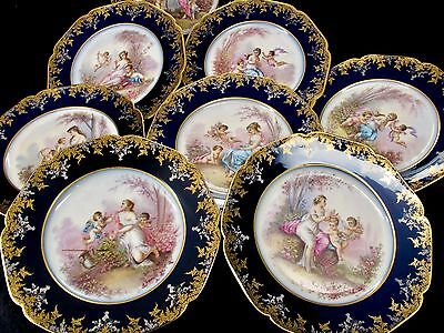 Victor Etienne & Fils Rue Paradis French Porcelain Cabinet Plates (8) 19th c.