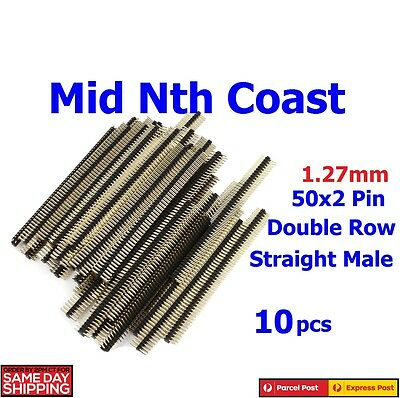 10pcs x 50 Pin Double Row Straight Male Header Strip 1.27mm Pitch
