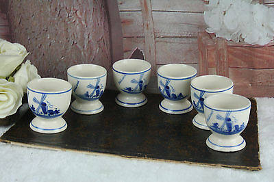 SET of 6 Delft pottery ceramic Egg holders dinner Mill floral marked cute !