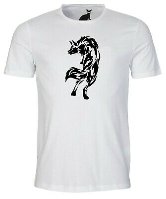 Tribal Wolf Design Mens T Shirt Native American Spirit Indian Art Tattoo