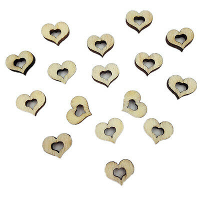 50pcs Lovely Hollow Heart Shape Wooden Buttons DIY Sewing Craft Decoration