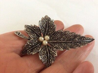 Marcasite Silver Tone Faux Pearl Leaf Brooch
