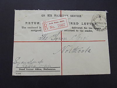 AUSTRALIA Part of Officials Collection: RETURNED REG LETTER  COVER