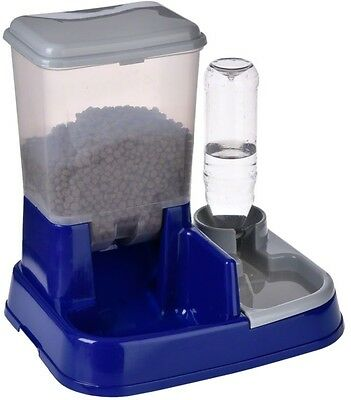 Pet Cat Dog Dry Food Water Dispenser 2in1 Automatic Feeder Station Easy Clean