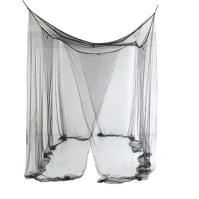 4 /Four Corner Post Bed Canopy Mosquito Net Full Queen King Size Netting Black