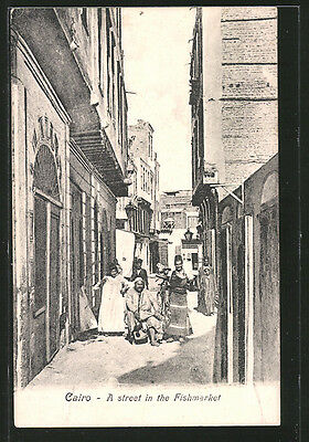 remarquable CPA Cairo, a street in the Fishmarket