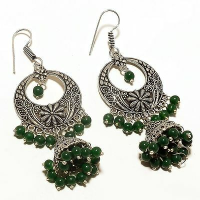 Indian Suit Jewelry Vintage_Style Silver Plated Beads Chandelier Jhumki Earrings