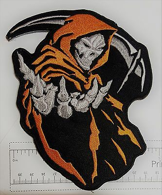 Orange Reaper Skull Outlaw Biker Funny Motorcycle Iron On Small Patch