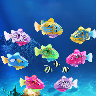 8Pcs Robo Battery Operated Fish Toy Water Activated Clownfish Kids Bath Toy Gift