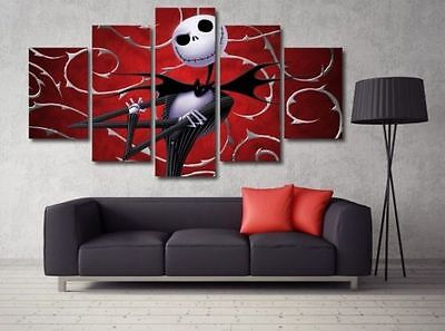 5 Panels Nightmare Before Christmas Painting Canvas Wall Art Picture Home Décor