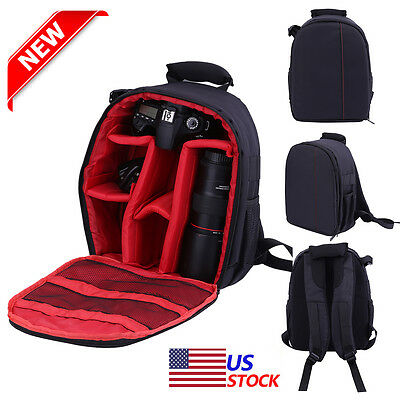 Waterproof DSLR SLR Camera Lens Backpack Case Bag Rucksack For Canon Nikon Sony