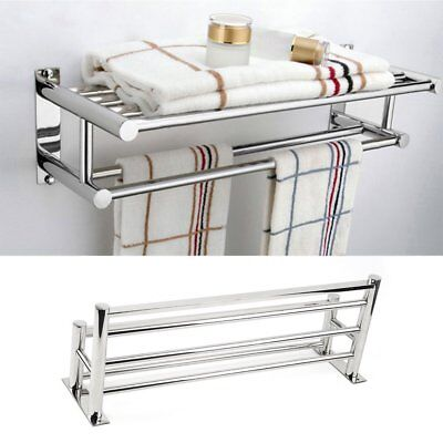 Double Stainless Steel Towel Rail Wall Bathroom Holder Storage Rack Shelf Bar UK