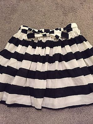 As New Girls Country Road Black White Striped Skirt Size 12