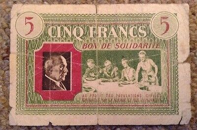 France Emergency Issue Banknotes. 5 Francs. Dated 1940-44