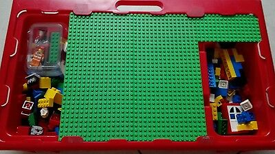 Vintage large lego tray with mix bulk lot of over 170 pieces & plates