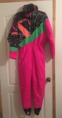 Snuggler Ski Wear Onesie Eclipse Suit Neon Pink Black Vintage 80s Women's Sz 8