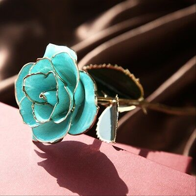Light Blue Rose 24K Gold Dipped&Genuine Rose Love Gifts for Valentine's Day
