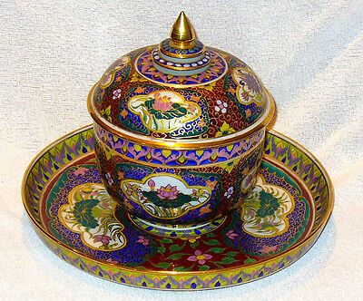 Intricately Decorated (Enamel & Gilt) Lidded Ceramic Bowl On Tray Perfect Condit