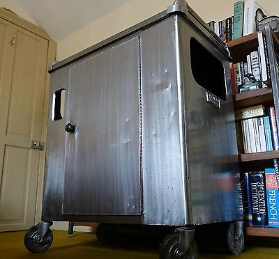 Vintage Industrial steel and leather Cabinet / trolley