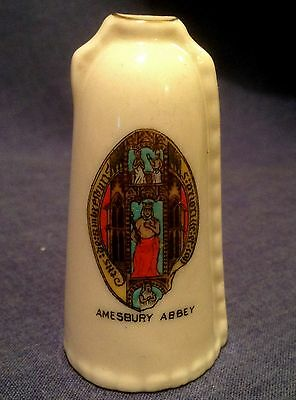 Arcadian Crested China. Amesbury Abbey Wiltshire. Leather Bottle. Rare Crest.
