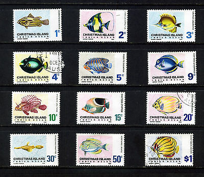 Christmas Islands 1968 -1970 Local Fish Set Of 12 To $1