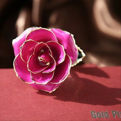 Pink Genuine Rose Preserved Dipped in 24K Gold Rose Gifts for Valentine's Day