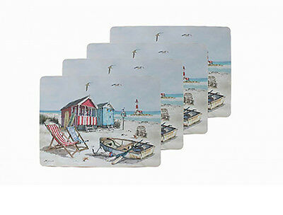Four Placemat Set Sandy Bay ~ Pack of 4 Beach Theme Table Mats by Macneil
