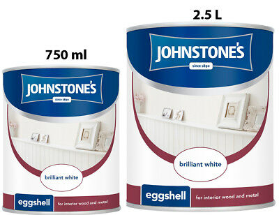Johnstone's Eggshell Brilliant White Wood And Metal Paint in 750 ml & 2.5 L
