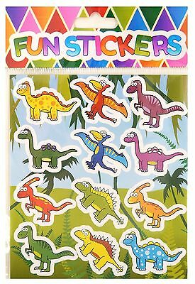 Dinosaur Stickers Sticky Labels Self Adhesive Kids Fun Party Bag Filler - Pack 6
