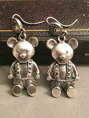 Gorgeous Vintage ART DECO Real SILVER & Marcasite TEDDY Dangle Earrings