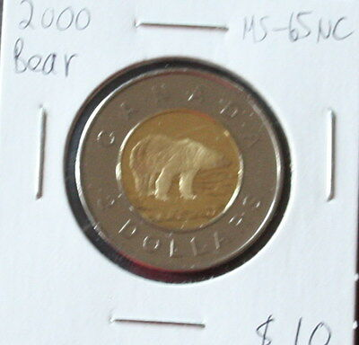 2000 (Polar Bear) Canadian 2 Dollars (Ms-65 Nc;)