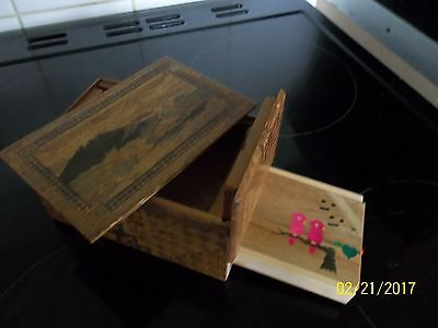 Good Vintage Japanese Inlaid Musical Puzzle Box Hidden Drawer 8 Moves
