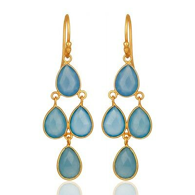 Natural Blue Chalcedony 18K Gold Plated 925 Sterling Silver Dangle Earrings