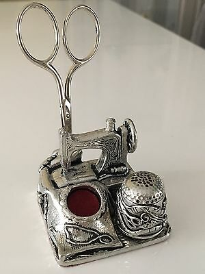 Silver Metal Sewing Kit Collectible Pin Cushion Scissors Thimble