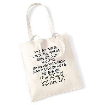 60th birthday survival kit tote bag celebration party sixtieth poem gift 286
