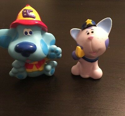 Blues Clues Lot Of 2 Figures Firefighter Blue Officer Periwinkle 2001 PVC