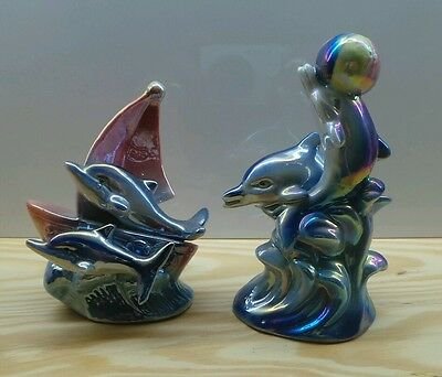 "2 × Vintage Figurine of 2 dolphins . 5""- 4"" in."