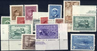 Canada SG 375-88/CW 15-28 1942 War Effort set of 14