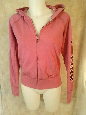 Women's Victoria's Secret PINK I Love Pink Full Zip Pink Hoodie Size Small