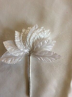 12 X White Rose Leaves On Wire Stem / Wedding Bridal Flower Crafts Button Hole