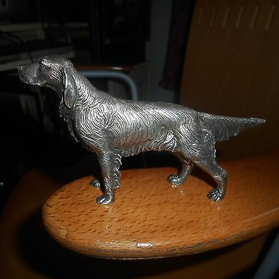 metal silver plated dog ornament, setter?