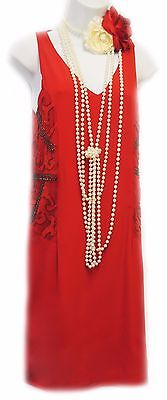 New Retro 1920's Red Deco Beaded Gatsby Downton Flapper Party Dress  UK 14
