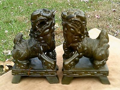 Pair Of Antique Carved Wood - Chinese - Guardian Foo Lion Statues Free Shipping