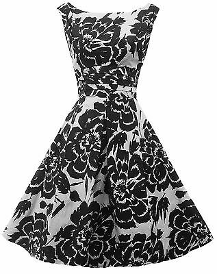 New Retro 1940's WW2 Wartime Black White Floral Swing Tea Dress UK 12